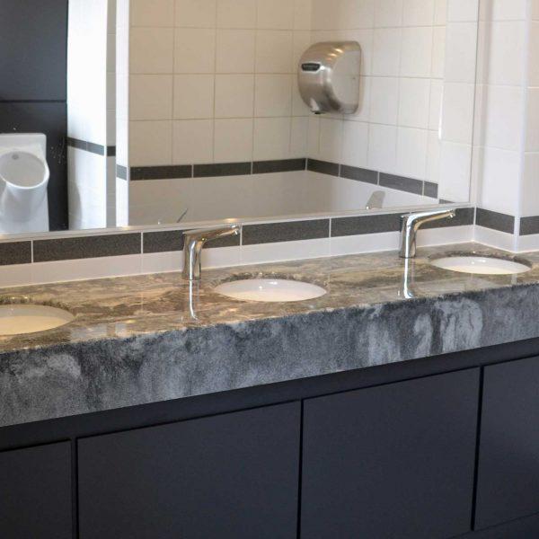 Gritstone grey granite vanity top by Versital