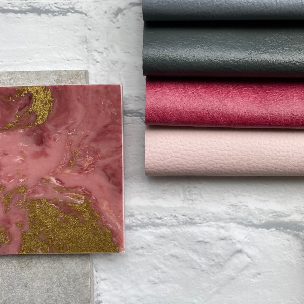 Pink marble with gold veins with Yarwood leather moodboard