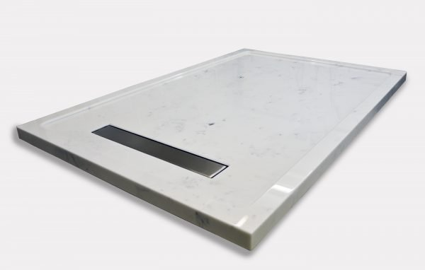 White marble style shower tray in Sicilian